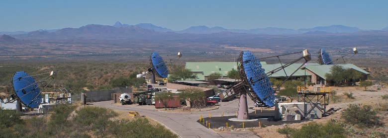 The four 12-m diameter telescopes of VERITAS, the Very Energetic Radiation Imaging Telescope Array System, at the Whipple Observatory are used to detect very high energy cosmic gamma rays